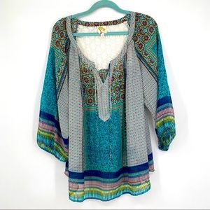 Fig and flower mixed print floral tunic top shirt